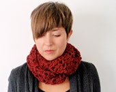 Infinity scarf chunky cowl: The San Fransisco scarf in Cranberry, made to order
