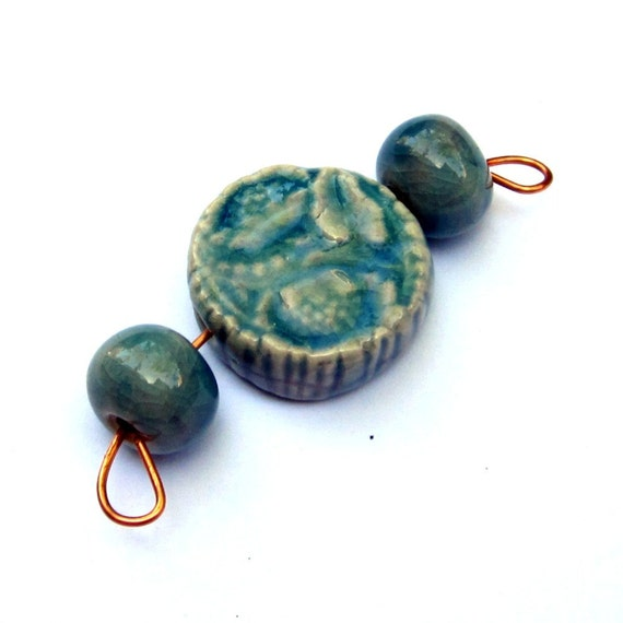 Porcelain Beads Blue Teal Handmade Floral Decor