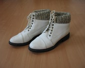 Size 8 white leather vintage granny boots