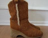 size 10 vintage suede cowboy winter boots