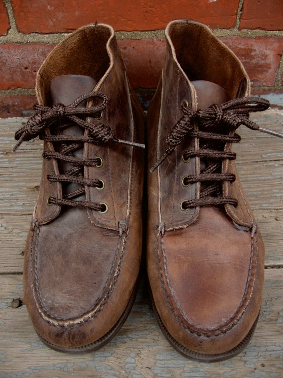 brown leather vintage boots size 10w