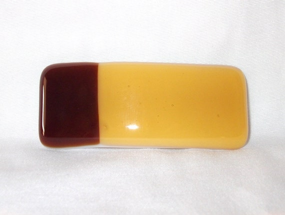 Handmade Barrette, Light and Dark Amber Colored Fused Glass Hair Clip