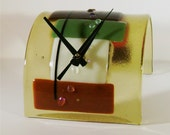 SALE-End over End - Fused Glass Clock