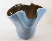 Blue Swirls Fused Glass Vase