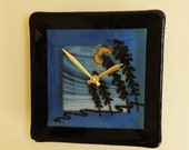 Jackpines Fused Glass Wall Clock