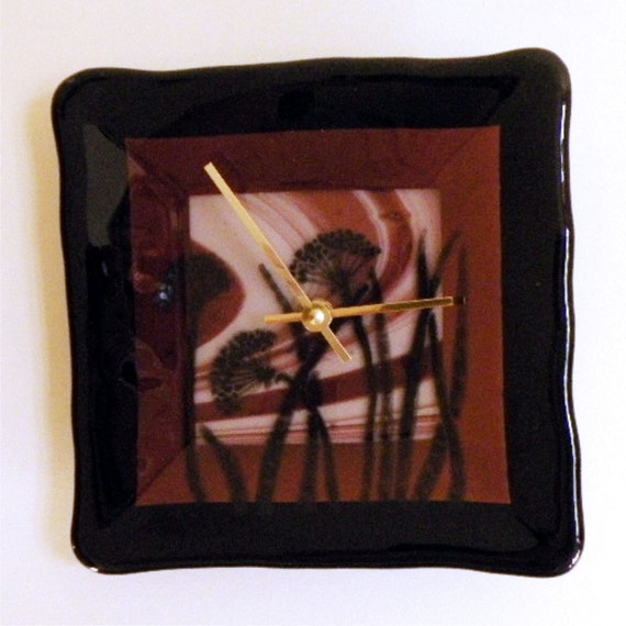 SALE-Queen Anne's Lace Fused Glass Wall Clock
