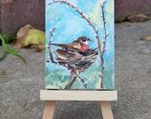 Robin Bird Nest Original Painting by Artist Debra Alouise