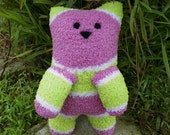 Poppy with Pink Bow the Huggable Soft handmade Sock Kitty Cat childrens plus stuffed animal