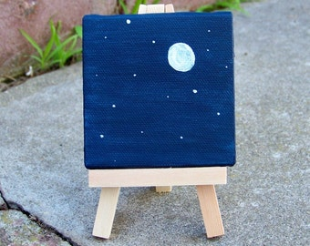 Send Me to the Moon Midnight Moon Stars Astronomy Space Original Painting Dollhouse by Artist Debra Alouise