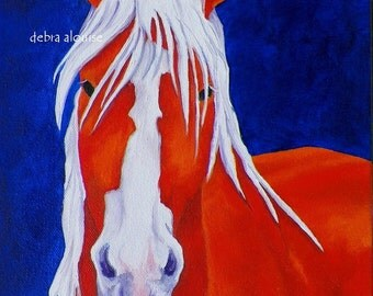 Original Oil Painting Draft Horse by Artist  debra alouise Colorful Paintings Colorful Horses Art Portrait