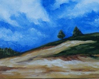 Original Oil Painting Hillside Landscape by Artist debra alouise