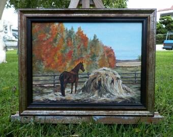 Hay Burner Original Oil Painting Horse Landscape Painting by Artist debra alouise