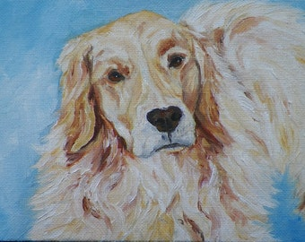 Golden Retriever Original Oil Painting by Artist debra Alouise Dog Portrait Art