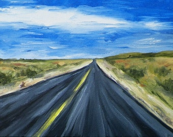 Road to Vegas Original Oil Painting Landscape By California Artist Debra Alouise