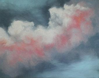 Landscape Cloud Two Original Oil Paintings Set of Two Paintings Optimistic Sky Art by debra alouise