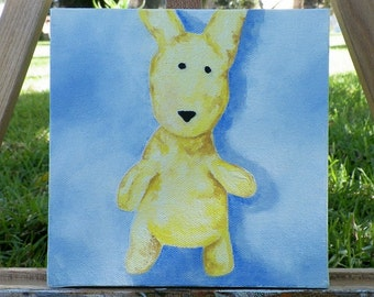 Wabbit Original Oil Painting Lemondrop Portrait Bunny Rabbit by Artist debra alouise
