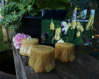 Faux Bois Wood Tree Stump Place Card Holder Photograph Silicone Candle Mold Original Sculpted Design Wedding DIY Craft Beeswax Molds