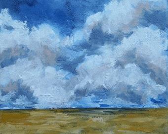 Original Oil Painting Clouds Fields Landscape Art by Artist debra alouise