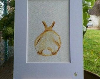 Cotton Tail Bunny Rabbit Watercolor Art Original Painting by Artist debra alouise