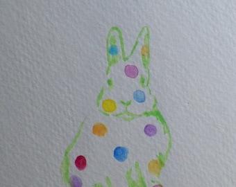Put a Poka Dots Bunny Rabbit on Your Wall Green Watercolor Art Original Painting by Artist debra alouise