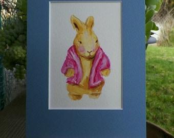 Storybook  Jozie Bunny Rabbit in her Pink Cardigan Sweater Watercolor Art Original Painting by Artist debra alouise