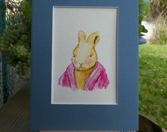 Storybook  Jozie Portrait Bunny Rabbit in her Pink Cardigan Sweater Watercolor Art Original Painting by Artist debra alouise