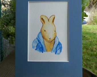 Storybook Peter Portrait Bunny Rabbit in her Pink Cardigan Sweater Watercolor Art Original Painting by Artist debra alouise