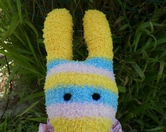 She Hypnotizes with Her EYES KIRBY the Fun Striped Huggable Childrens Handmade Glove Bunny Doll Toy Rabbit Soft
