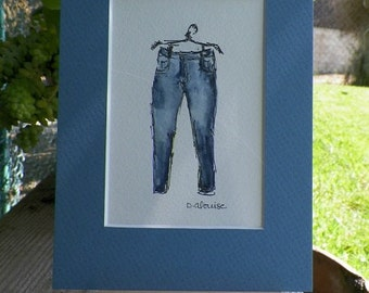 PULL  My Skinny Days Jeans Watercolor Denim Fashion Art Original Painting by Artist debra alouise