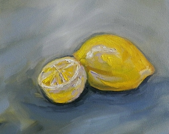 Lemons Original Oil Painting Kitchen Home Decor 8 x 8 by California Artist debra alouise