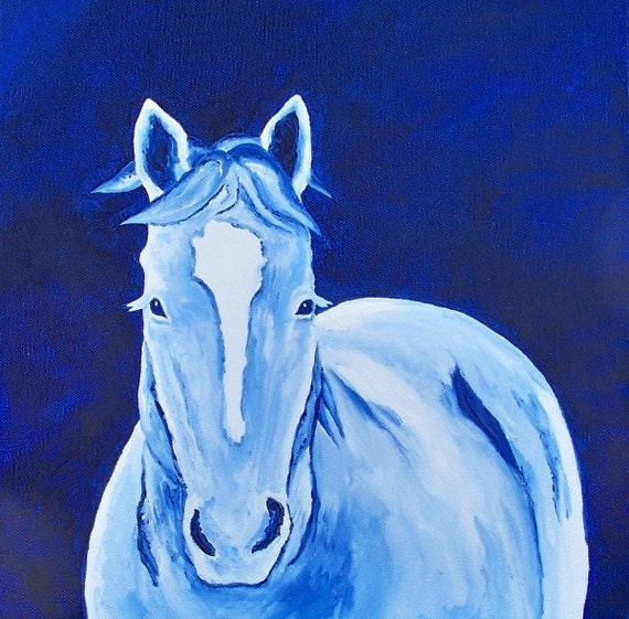 Original Oil Painting Winter Snow Horse 12 x 12 by Artist debra alouise