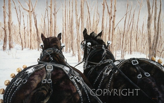Draft Horses Winter Sleigh Ride 10 x 16 Laser Art Print Horses in the Snow