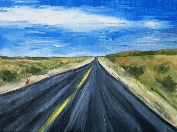 Road to Vegas Original Oil Painting Landscape By California Artist Debra Alouise