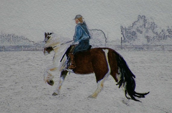 Reserved for Chris R Training Schooling a Young Horse Watercolor Original Painting by Artist debra alouise