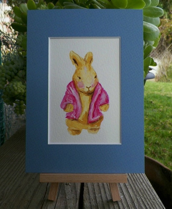 Storybook  Jozie Bunny Rabbit in her Pink Cardigan Sweater Watercolor Art Original Painting by Artist debra alouise