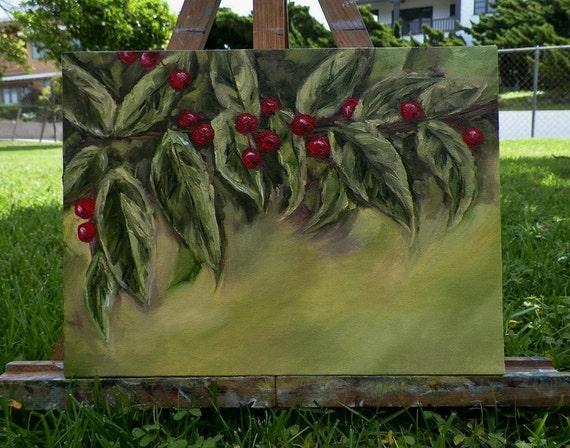 Holly Berries Botanical Nature Christmas Art Original Oil Painting