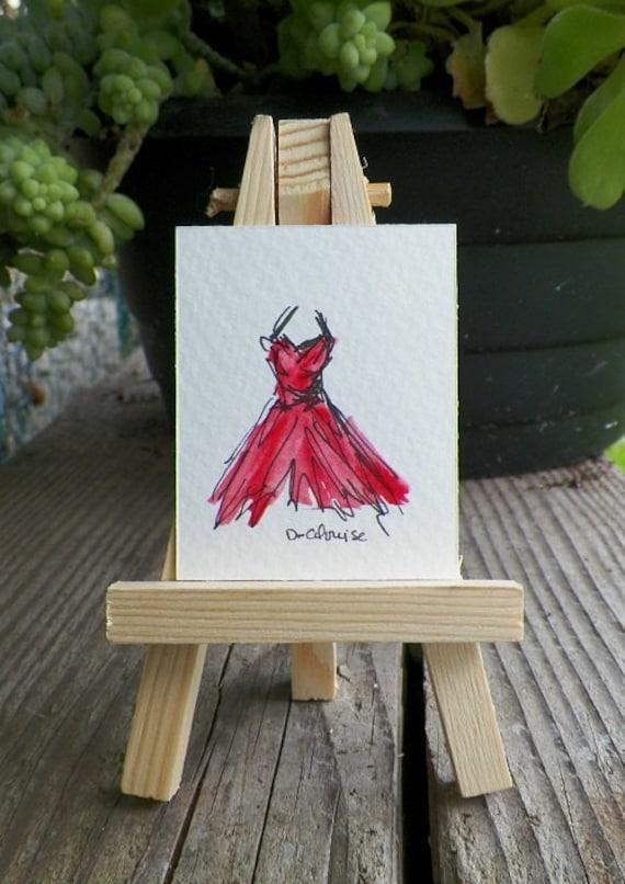 Wear Red Tonight Mini Watercolor Dress Fashion Art Original Painting by Artist debra alouise Gown No.5