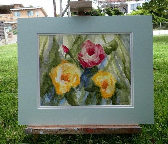 Garden Roses Botanical Nautres Watercolor Art Original Painting Rose Flowers by Artist debra alouise