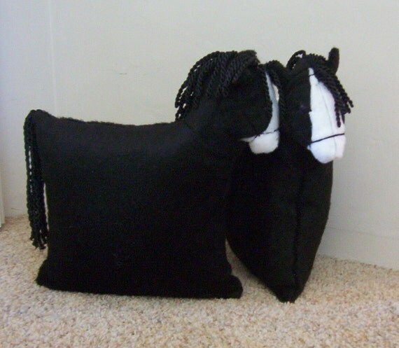 Black with White Blaze Pony Pillow Kids Horsey Pillow Bedroom Home Decor