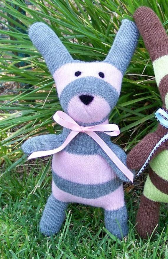 April Pink Gray Bunny Rabbit Doll the Huggable Handmade SOFT Glove Bunny Doll Toy Rabbit Soft ...friend of Mindy