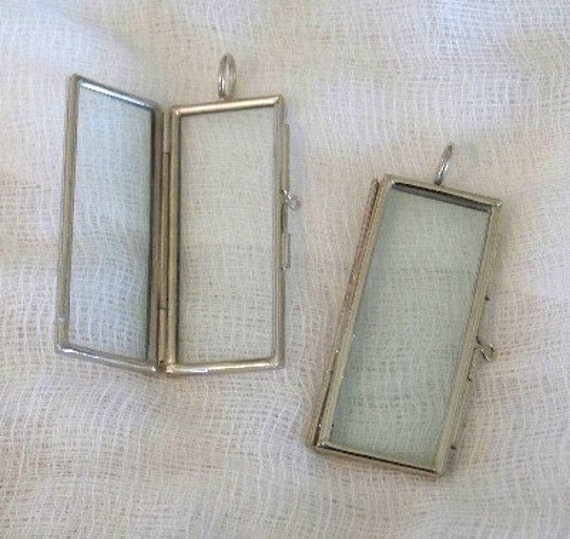 SALE SALE Glass Metal Frame Pendant Locket for Your Precious Photo Memory 1 x 2 Rectangle