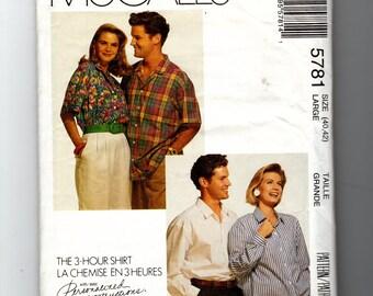 Misses' Men's or Teen Boys' Shirt Pattern 5781