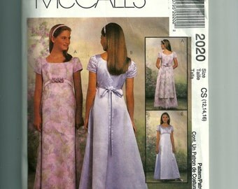 McCall's Girls'  Lined Dresses Pattern 2020