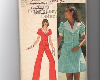 Vintage Simplicity Junior and Misses' Dress and Pant Suit Pattern 5472