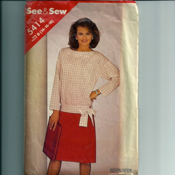Vintage Butterick Misses' Top and Skirt Pattern 5414