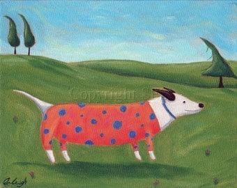 Whimsical Dog Art, Dog Folk Art, Cute Print, Dog with Sweater, Kids Room Decor, Children's Art, Funny Picture, Kids Wall Art, Nursery Decor
