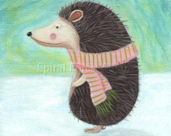 Hedgehog Art -  Fun Winter Decor - Print from Original Painting, Hedgehog Wearing Striped Scarf, Whimsical Illustration
