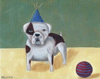 English Bulldog Art, Circus Dog, Fun Dog Print, English Bulldog Gift, Dog Folk Art, Dog Wall Art, Boy's Room Picture, Naive Illustration