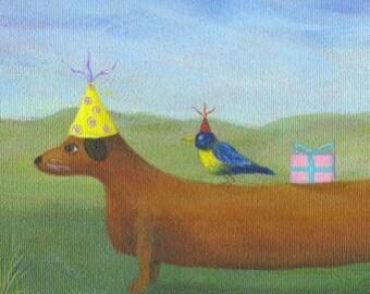 Dachshund Art, Cute Dog PRINT, Whimsical Dog Art, Dachshund Illustration, Children's Picture, Weiner Dog, Fun Dog Picture, Kids Wall Art