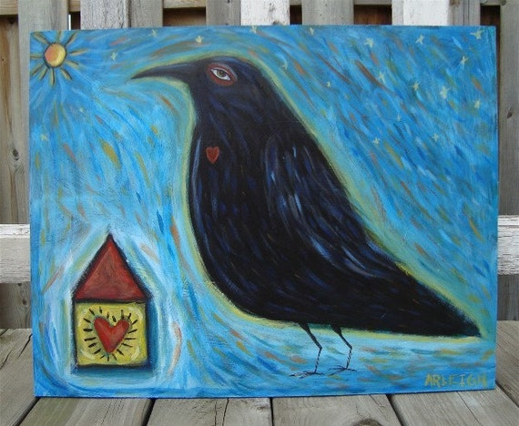 Original Crow Bird Painting - Staring Into the Great Beyond - Unique, Ethereal Art